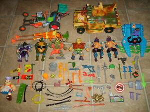 Vintage Teenage Mutant Ninja Turtle Figure & Vehicle Parts Lot TMNT