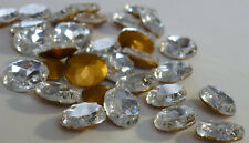 12 Vintage Glass Rhinestones 10x12mm Oval Crystal Clear TTC Foiled Germany D4-5