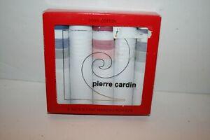 5 Pierre Cardin MEN'S HANDKERCHIEF Classic White & stripe Cotton Valet Tray NEW