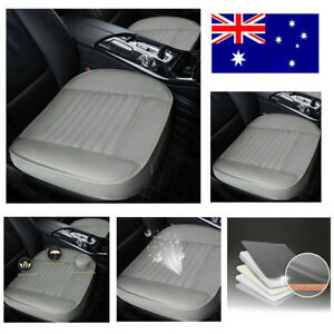 1x Grey PU Black Surround Leather Car Front Seat Cover Breathable Chair Cushion