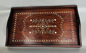Vintage Large Anglo-Indian Wooden Tray with Inlay