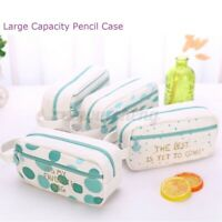 Dots Diamond Canvas Pencil Case Pen Box Stationery Purse Makeup Cosmetic Bag US