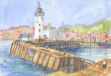 Scarborough Harbour, Hand Signed, Titled and Mounted Print with COA