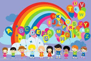 "5x7 Rug  Children Educational  Balloons  Kids  ABC  Rainbow  Party 4'3"" x 6'6"""