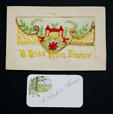 WW1 Silk Postcard Kiss From France Viewfield Place Crieff Rd Perth Scotland PH1