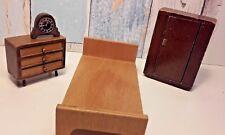 Early Vintage Dolls House Barton Bedroom Wooden Furniture Bundle & Clock