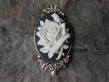 GORGEOUS ROSE CAMEO BROOCH- PIN- (WHITE, BLACK) -- STUNNING, FLORAL, ROSE BUD