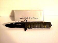 """KNIFE TAC-FORCE SPEEDSTER, YC-636GN, HIGH CARBON STEEL BLACK BLADE 7.25"""" OPEN"""