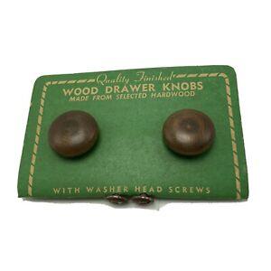 Pair of Vintage Antique Wood Dresser Drawer Pulls Knob Oak