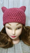 Deep rose pink kitty pussy cat ears chunky hat crochet womans hand made beanie