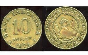 INDONESIA  INDONESIE  10 rupiah  1974   ( etat )