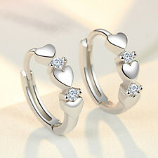 Elegant Heart 925 Silver Hoop Earring Women White Sapphire Jewelry A Pair/set