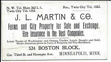 c1890s Business Cd, Sales of Farms, City Property, Fire Insurance Minneapolis MN