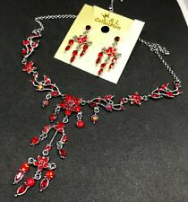 Women Red Crystal Necklace Earring Party Bridal Dinner Dress Jewelry Set 3