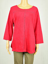 Style & Co Womens Red Faux Suede Embellished Blouse Top Size L