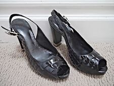 d6819a487567 TORY BURCH  295 Allison black croc patent leather peep-toe heels size 9