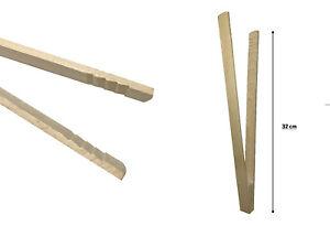 3x Grillzange 32 cm aus Buchenholz BBQ Zange Grillwender Holzzange Küchenzange