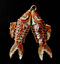 RARE ANTIQUE CORAL RED ENAMEL & MOP CONJOINED ARTICULATED FISH FILIGREE PENDANT