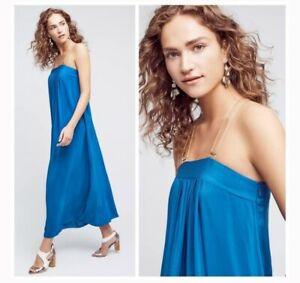 Anthropologie HD Paris Grecian Gown Sapphire Royal Blue Silk Maxi Dress Size 14