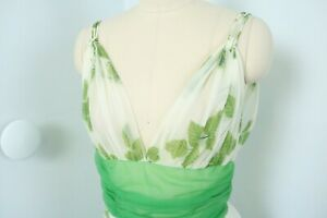 Vintage 50s Green Sheer Nylon Lingerie Nightgown Dress Foliage Leaves Print XS/S