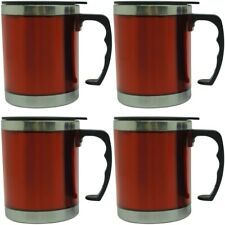 4x Thermo Mug 450ml Stainless Steel Insulated Mug Car Mug Cup Cups Red