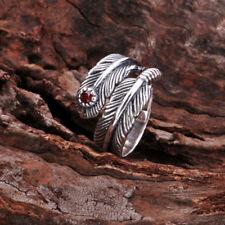 Fine Women Garnet Gem Elf Feathers Solid 925 Sterling Silver Ring Adjustable G83