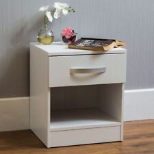 Hulio High Gloss Bedside Cabinet White 1 Drawer Metal Handles Bedroom Furniture