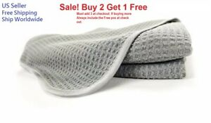 Gray Waffle Weave Thirsty Absorbing Microfiber Drying Cleaning Towel Auto Home