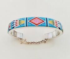 Sublime Multicolor Turquoise Opal Inlay .925 Silver Cuff Bracelet Sz 6-3/4""