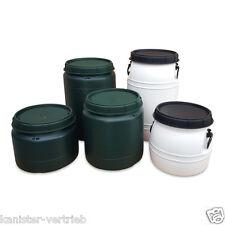 25, 30, 40, 60, 70 L Kunststofffass Plastikfass Tonne mit Drehdeckel grün, weiß