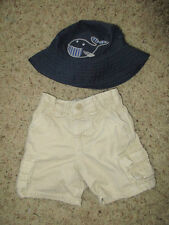 GYMBOREE BABY WHALE BUCKET HAT WITH CHIN STRAP Hat + GAP SHORTS 12 - 18 - 24 MO
