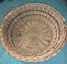 2 Tone Round Wicker Basket Tan And Brown. With  Handles