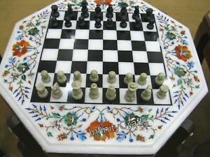15 Inch Marble Chess Table Top Gemstones Inlaid Coffee Table King Size 2.5 Inch