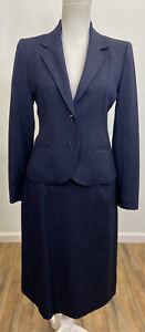 Vintage Larry Levine Skirt Suit Size 9 Navy Blue Pinstripes Blazer Jacket Set