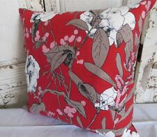 Florals Red White & Brown Linen Look Cushion Cover 45cm