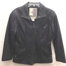 MIDDLEBROOK PARK Women's Black 100% Leather Full Zip Jacket Coat Size PS
