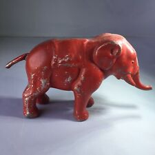 Vintage Cast Iron Red Elephant Bank Figurine