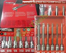 "New Snap On 3/8"" Long STANDARD Ball Hex Socket Driver 6 Pcs Set - 206EFABL - SAE"