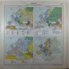1929 ORIGINAL MAP ~ EUROPE SHOWING RACES LANGUAGES RELIGIONS UNIVERSITIES
