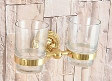 Gold Color Brass Bathroom Wall Mount Double Toothbrush Holder Cup Gba600