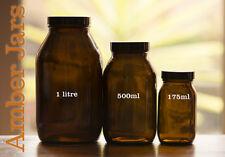 2 x 1 Litre Amber Wide Mouth Bottle Jar - European Glass Food Grade Vase Vintage