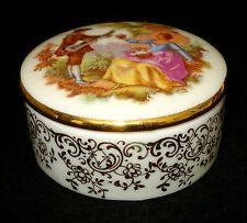 Limoges Lec Leclair Round Lidded Trinket Box Couple Scene Gold Details 2� Diam.