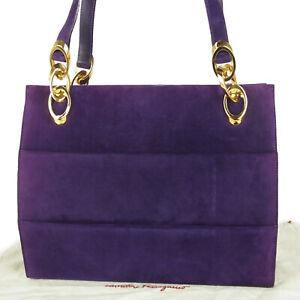 Auth Salvatore Ferragamo Logos Ruffle Chain Shoulder Bag Purple Italy 10357bkac