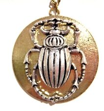 SCARAB BEETLE SUN DISC Egyptian Revival Ra Steampunk pendant insect necklace Z6