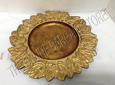 """Pottery Barn Gold Leaf Autumn Fall Harvest Thanksgiving Charger Plate Tray 14"""""""