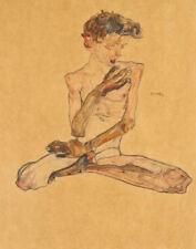 Schiele Egon Seated Boy Canvas 16 x 20  #2693