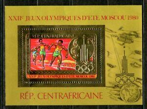 Centre Afrique 1981 Olympic games JO Moscou Gold Foil Or MICHEL 686 Bloc 88 35 e