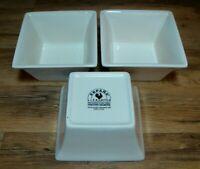 SET OF 3 -TABLETOPS ESPANA - SQUARE WHITE / IVORY SOUP SALAD CEREAL BOWLS