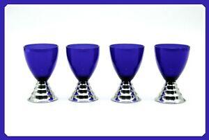 Art Deco Chase Chrome Set of 4 BLUE MOON Cocktail Cups,Cobalt Shot Glasses