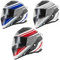 e5a0118b VCAN V127 RAZOR RED BLUE SILVER MOTORCYCLE DUAL VISOR FULL FACE CRASH HELMET